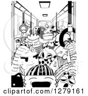 Clipart Of A Black And White Doodle Of Monsters In A Subway Car Royalty Free Vector Illustration