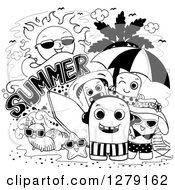 Clipart Of A Black And White Doodle Of Summer Monsters At The Beach Royalty Free Vector Illustration by BNP Design Studio