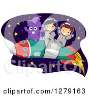 Clipart Of Happy Children Astronauts And An Alien Flying Through Outer Space On A Rocket Royalty Free Vector Illustration
