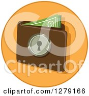 Clipart Of A Secure Wallet With Cash On An Orange Circle Royalty Free Vector Illustration by BNP Design Studio