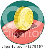 Gold Coin Over The Slot Of A Piggy Bank In A Green Circle