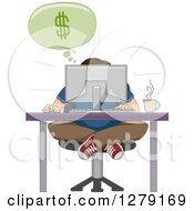 Clipart Of A Hunched Man Sitting Indian Style At A Computer Desk And Discovering Online Business Royalty Free Vector Illustration