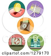 Clipart Of Thrift And Banking Icons Royalty Free Vector Illustration
