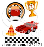 Clipart Of A Motorsports Racing Badge Trophy Traffic Cone Race Car And Checkered Flag Border Royalty Free Vector Illustration by BNP Design Studio