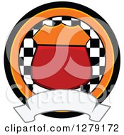 Clipart Of A Motorsports Racing Shield Checkered Flag And Blank Banner Badge Royalty Free Vector Illustration