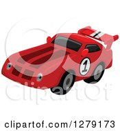 Clipart Of A Red Race Car With A Number On The Side Royalty Free Vector Illustration