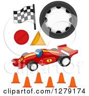 Clipart Of Formula One Racing Items Royalty Free Vector Illustration
