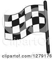 Clipart Of A Checkered Car Racing Flag Royalty Free Vector Illustration