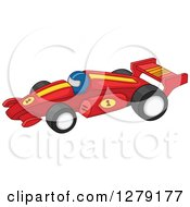 Clipart Of A Forumla One Race Car Driver In A Red Vehicle Royalty Free Vector Illustration