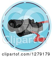 Clipart Of A Sketched Round Blue Binoculars Icon Royalty Free Vector Illustration