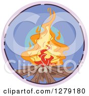 Clipart Of A Sketched Round Purple Campfire Icon Royalty Free Vector Illustration