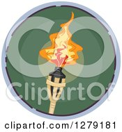Clipart Of A Sketched Round Green Torch Icon Royalty Free Vector Illustration