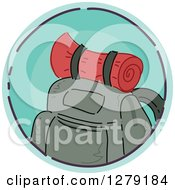 Clipart Of A Sketched Round Blue Mountaineering Backpack Icon Royalty Free Vector Illustration