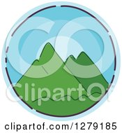 Clipart Of A Sketched Round Blue Mountains Icon Royalty Free Vector Illustration