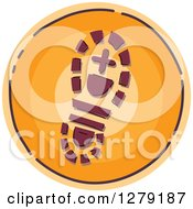 Clipart Of A Sketched Round Orange Hiker Boot Footprint Icon Royalty Free Vector Illustration