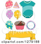 Clipart Of A Baby Birthday Onesie Cupcake Banner And Party Balloons Royalty Free Vector Illustration by BNP Design Studio