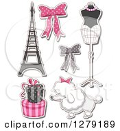 Clipart Of Sticker Styled French Fashion Themed Bows Mannequin Poodle Gifts And The Eiffel Tower Royalty Free Vector Illustration