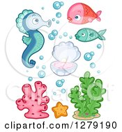Clipart Of Cute Fish A Seahorse Clam Seaweed And Coral Royalty Free Vector Illustration by BNP Design Studio
