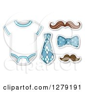 Clipart Of A Neck Tie Bow Mustaches And Baby Onesie Royalty Free Vector Illustration