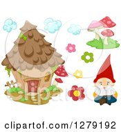Clipart Of A Fantasy Garden Gnome Mushrooms Flowers And A House Royalty Free Vector Illustration by BNP Design Studio