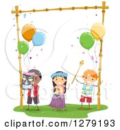 Clipart Of Happy Kids Dancing At A Hawaiian Themed Birthday Party Royalty Free Vector Illustration by BNP Design Studio