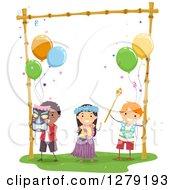 Happy Kids Dancing At A Hawaiian Themed Birthday Party