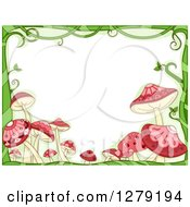 Clipart Of A Green Vine And Pink Mushroom Border Around Text Space Royalty Free Vector Illustration