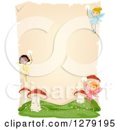 Clipart Of A Blank Parchment Page With Stick Fairy Girls And Mushrooms Royalty Free Vector Illustration