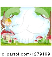 Clipart Of A Happy Blond Female Stick Fairy Sitting On A Mushroom In A Forest Royalty Free Vector Illustration