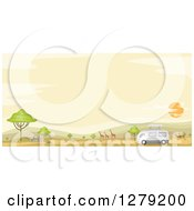 Clipart Of A Safari Tour Bus With Gazelle Giraffes And Zebras In An African Landscape At Sunset Royalty Free Vector Illustration by BNP Design Studio