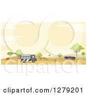 Safari Tour Bus With A Lion Rhinos And Elephants In An African Landscape At Sunset