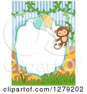 Clipart Of A Blank Frame With Stripes Giraffe Print And A Monkey Swinging With Party Balloons Royalty Free Vector Illustration