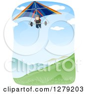 Clipart Of A Happy Man Hang Gliding Over A Valley Royalty Free Vector Illustration by BNP Design Studio
