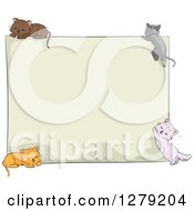 Blank Sign Board With Sketched Cats At Each Corner