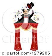 Clipart Of A Male Magician Holding A Wand Rabbit And Top Hat Over A Circus Tent Entrance Royalty Free Vector Illustration