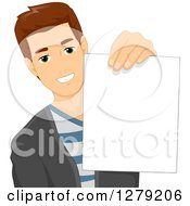 Clipart Of A Happy Brunette Caucasian Man Holding Out A Piece Of Paper Royalty Free Vector Illustration