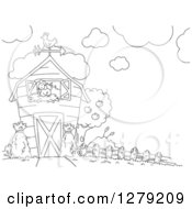 Clipart Of A Black And White Barn With A Nesting Hen Royalty Free Vector Illustration