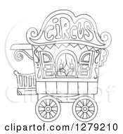 Clipart Of A Black And White Circus Caravan Royalty Free Vector Illustration