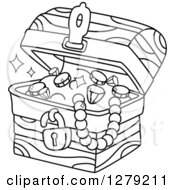 Clipart Of A Black And White Treasure Chest Full Of Jewels Royalty Free Vector Illustration