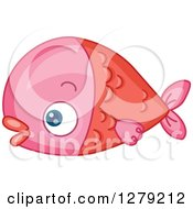 Clipart Of A Cute Pink Fish In Profile Royalty Free Vector Illustration