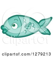 Clipart Of A Cute Fish In Profile Royalty Free Vector Illustration