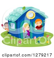 Clipart Of Happy Stick Children Hunting Easter Eggs In A Play House Royalty Free Vector Illustration