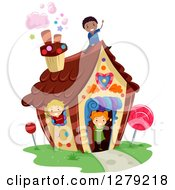 Clipart Of Happy Children Playing In A Candy House Royalty Free Vector Illustration