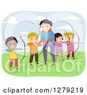 Clipart Of A Male Instructor Giving Children Archery Lessons Royalty Free Vector Illustration by BNP Design Studio