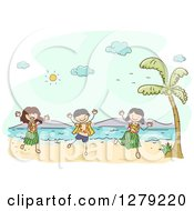 Clipart Of Sketched Happy Stick Kids Hula Dancing On A Hawaiian Beach Royalty Free Vector Illustration