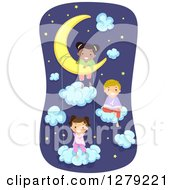 Clipart Of Happy Stick Kids In Pjs Sitting On The Moon And Clouds In A Night Sky Royalty Free Vector Illustration by BNP Design Studio