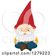 Clipart Of A Fantasy Sitting Male Garden Gnome Royalty Free Vector Illustration by BNP Design Studio