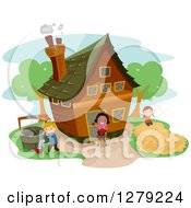 Clipart Of Happy Children Working At A Farm House Royalty Free Vector Illustration