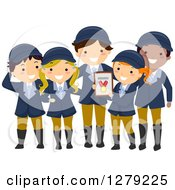 Clipart Of A Happy Child Equestrian Team Holding A Medal Royalty Free Vector Illustration