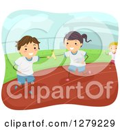 Clipart Of A Stick Boy And Girl Passing A Baton In A Relay Race Royalty Free Vector Illustration by BNP Design Studio